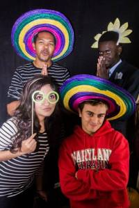 Photo booth with props, what a great idea!