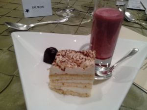 The AMAZING dessert given at the Etiquette dinner- Handmade chocolate, tiramisu, and a Raspberry Custard