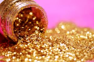 Gold glitter to represent autism acceptance.